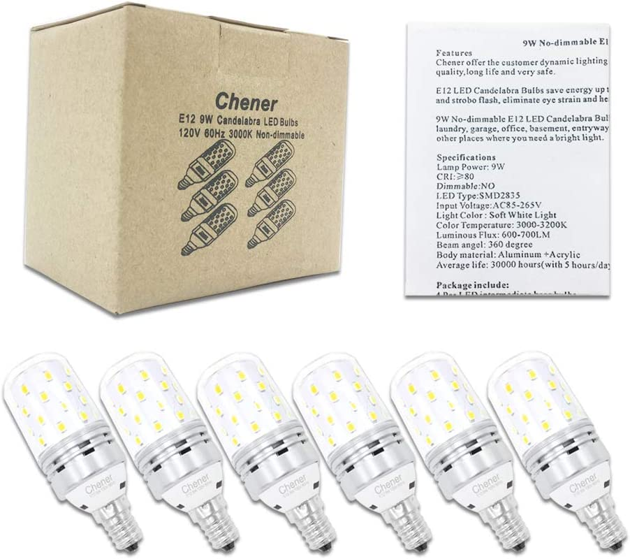 9W Soft White 3000K Non-immable 360 Degree Angle for Chandelier Home Lighting 6 Pack Metal Shell E12 Candelabra LED Bulb 60 Watt Light Bulbs Equivalent Chener