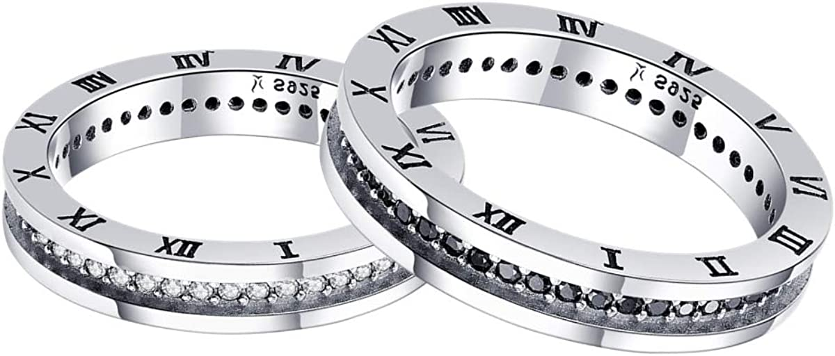 BAMOER Sterling Silver Couple Rings Plated Platinum CZ Wedding Ring Promise Ring for Couple
