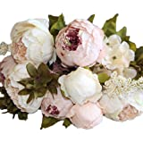 C-Pioneer Artificial Peony Bouquet Silk Flowers for Wedding Hotel Home Decor Floral (Light Pink)