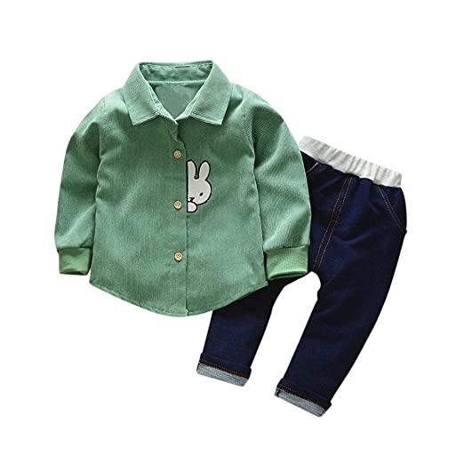 3458e4f15 Amazon.com  DIGOOD Toddler Baby Boys Patchwork Rabbit Shirt+Denim ...