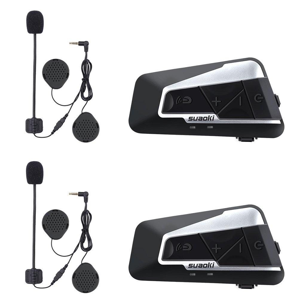 SUAOKI Bluetooth Motorcycle Intercom 2 Pack Wireless and Rainproof Headset Communicators with Advanced Noise-reduction Technology for all Helmet 1200M (Handsfree/Calls/Music/Interphone/FM)