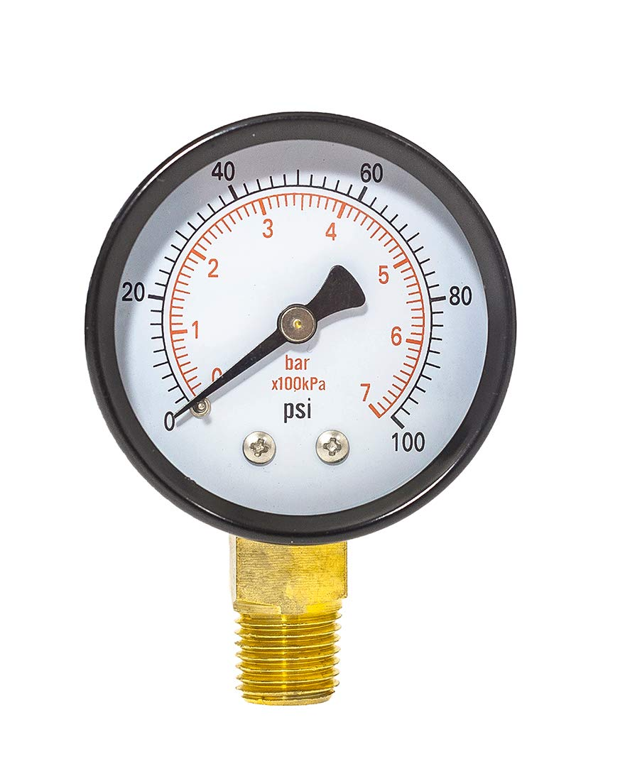 2 Dia,-30Hg-30 psi//bar//kpa Dry Pressure Gauge 1//4 npt Lower Mount,Black Steel case and Brass Connection
