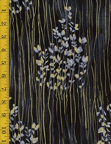 Cotton Quilting Fabric - Timeless Treasures Zephyr Metallic: Sprigs Stripe ZEPHYR-CM5702-SHADOW (Quilt Fabric Timeless Treasures)