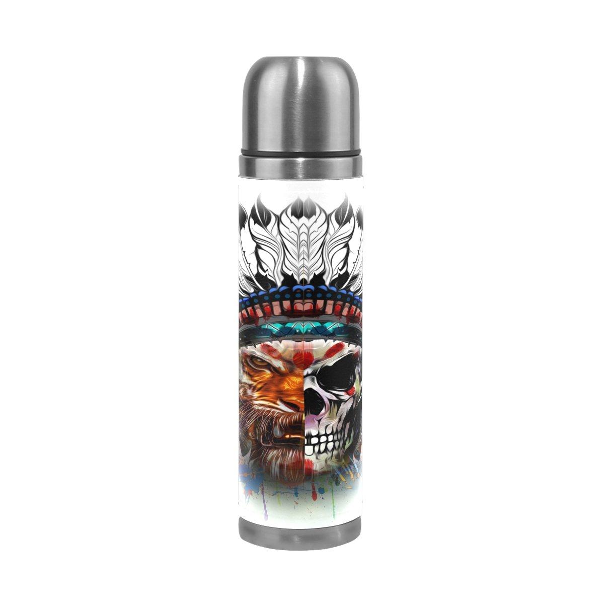 ALAZA Indian calavera botella de agua doble pared aislado al vac/ío de acero inoxidable termo aut/éntica Leathe funda 17/oz 100/% a prueba de fugas
