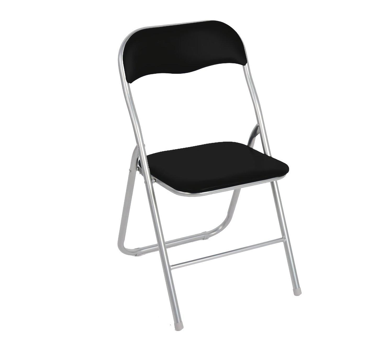MEDIA WAVE store 2008AN0816 Set 4 sedie pieghevoli NERE ass. Lione imbottita con base metallo