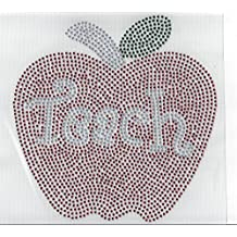 Teacher Rhinestone Apple Hot Fix Heat Press Transfer MOTIF Applique teacher Appreciation