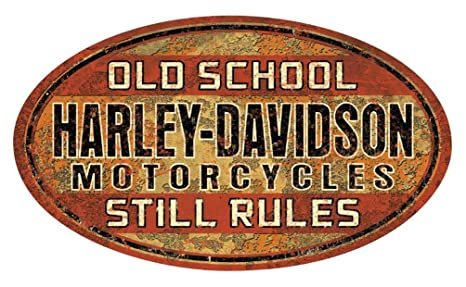 Amazon.com: HARLEY-DAVIDSON Old School Still Rules Tin Sign ...
