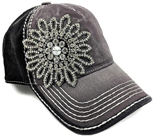 (Women's Olive & Pique Large Rhinestone Floral Ball Cap, Charcoal & Black)