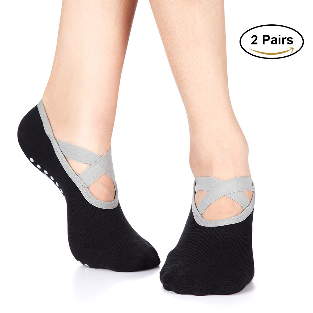 Yoga Socks for Women Non-Skid Socks with Grips Anti-Skid Pilates Socks (2 pairs Black2) by Huisen (Image #1)