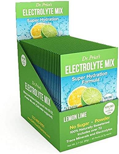 Electrolyte Mix Super Hydration Formula Trace Minerals NEW Lemon-Lime Flavor 30 powder packets Sports Drink Mix Dr. Price s Vitamins No Sugar, Non-GMO, Gluten Free Vegan