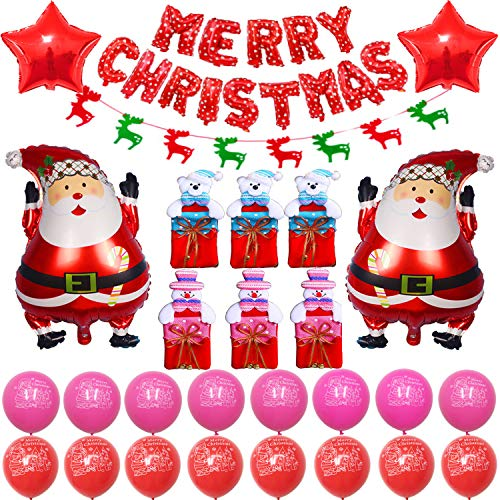 Christmas Cute Cartoon Santa Clause and Gift Bag Party Supplies, Decoration Set With Christmas Gift Bags Santa Clause & Five-Pointed Star Foil Balloons Red And Pink Latex Balloons, Full Party Set 41PCS For Christmas Party