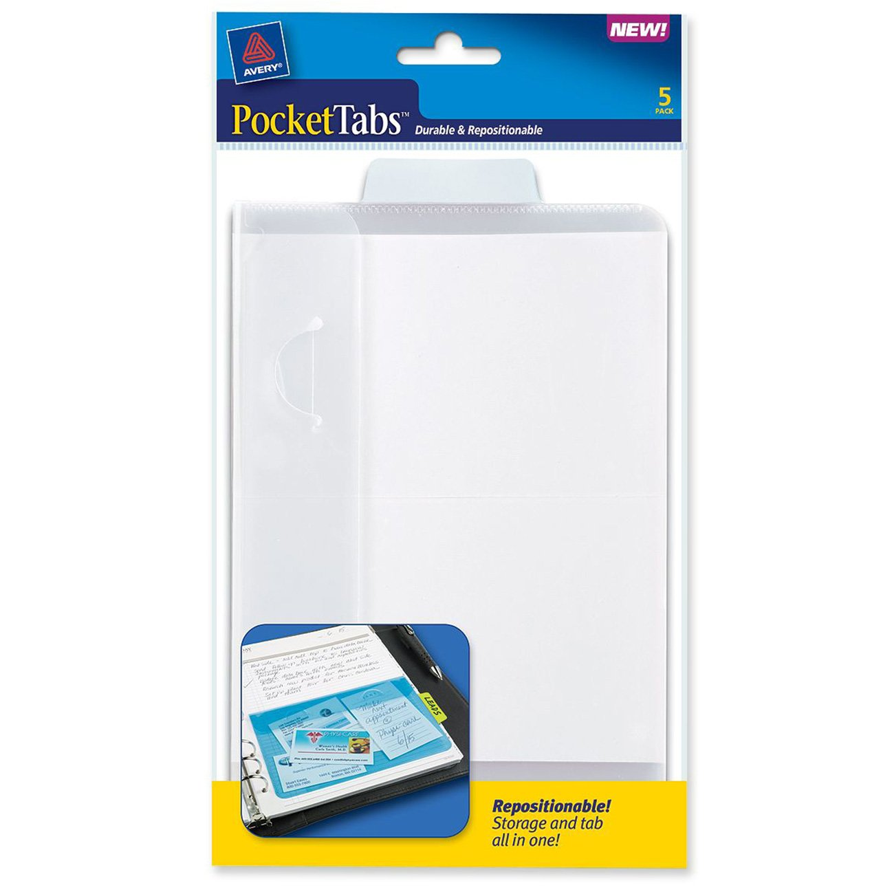 Avery PocketTabs, 5.125 x 8.315 Inches, Half-Page Size, Pastel Blue, 5 per pack (16365)