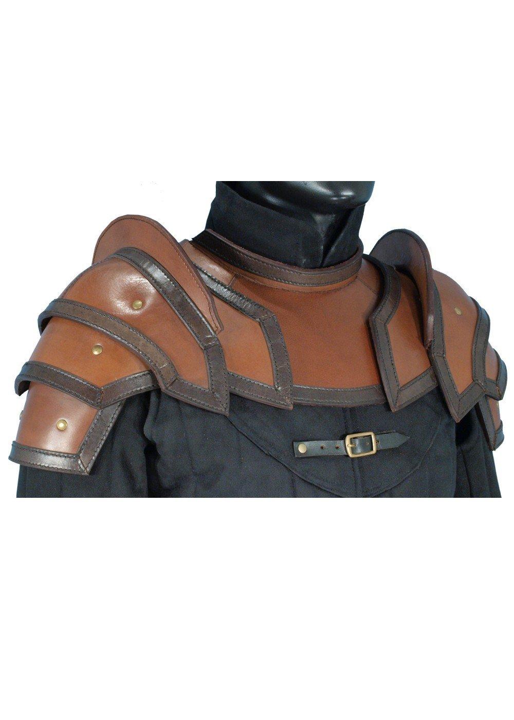 Schulterplatten u. Kragen aus Leder LARP Schwarz/Braun oder Braun/Schwarz Gr. M oder L Lederrüstung Mittelalter Wikinger