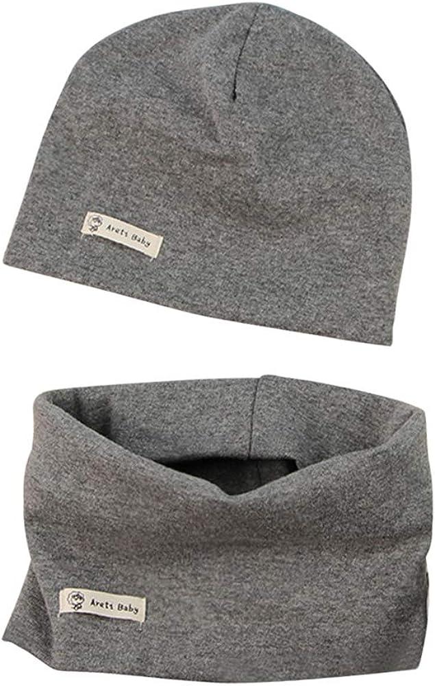LACOFIA Set di Berretto e Sciarpa Colletto per Bambino Cappello a Maglia per Neonato Cotone Cappello e Sciarpe Bandana da Bambino