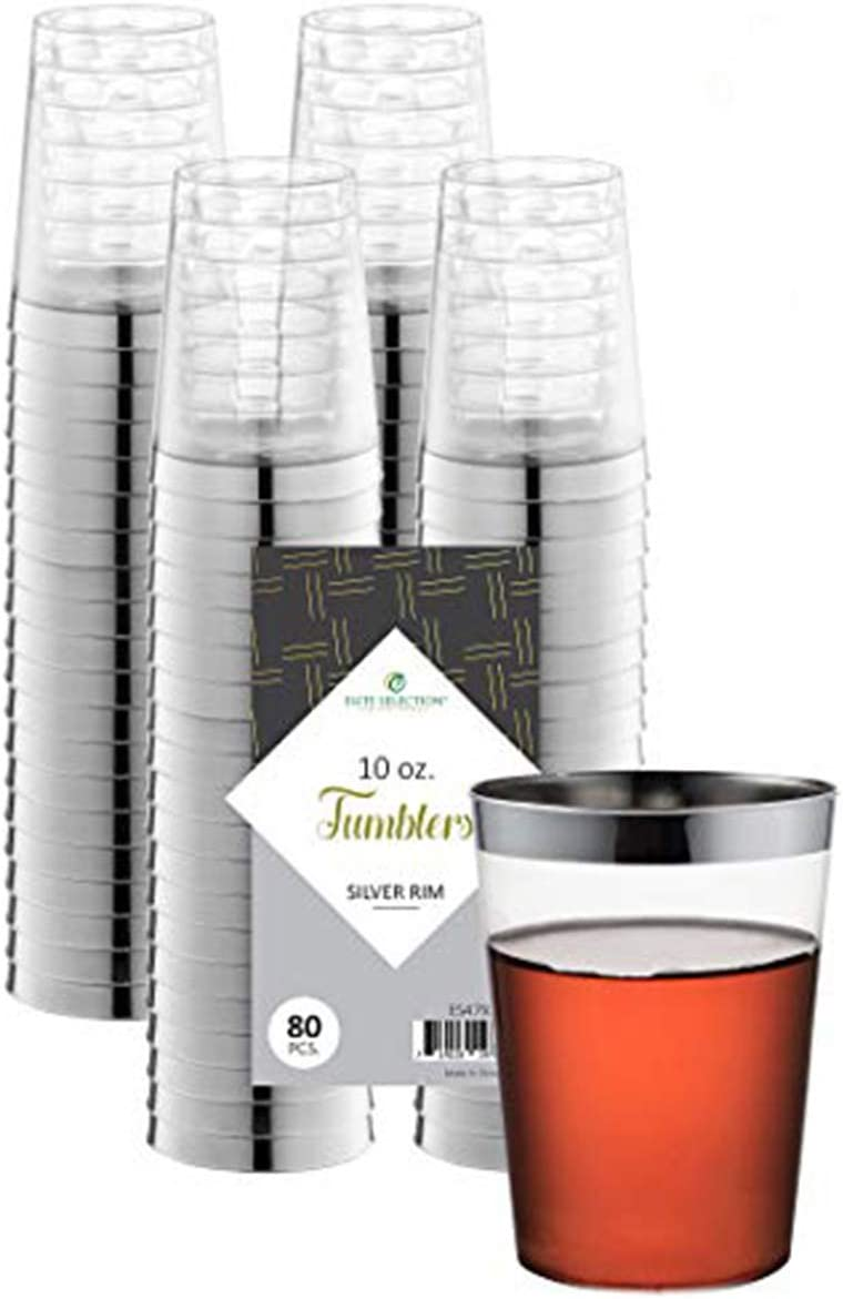 Clear Disposable Plastic Cups With Silver Rim 10 Oz. Pack Of (80) Fancy Hard Plastic Cups - Party Accessories - Wedding - Cocktails- Tumblers