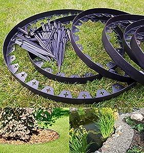 10 meters of BLACK Flexible Plastic GARDEN EDGING with 50 ...