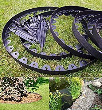 10 metres of black flexible plastic garden edging with 50 strong securing pegs anchors - Plastic Garden Edging