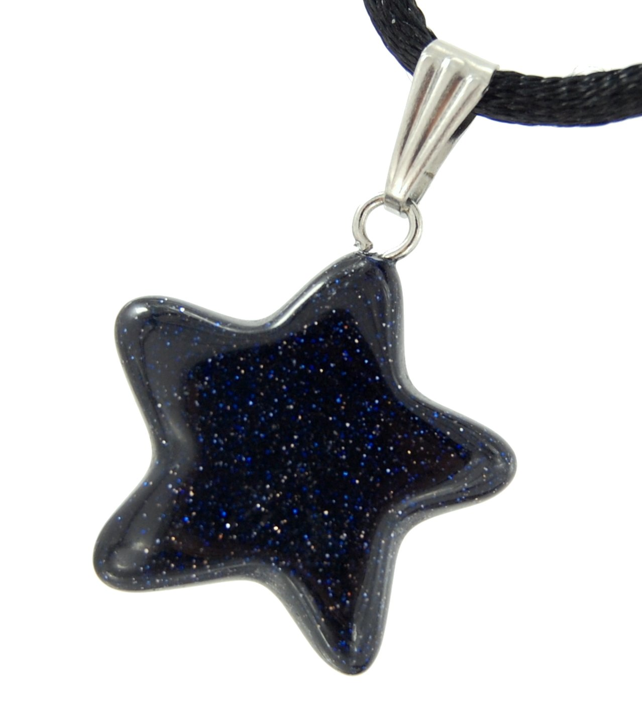 Steampunkers USA Celestial Collection - 20mm Classic Star Galaxy Goldstone Black Blue - 20'' to 24'' Adjustable Soft Black Poly Woven Washable Cord - Smelt Crystal Gemstone Collectibles Carved Necklace