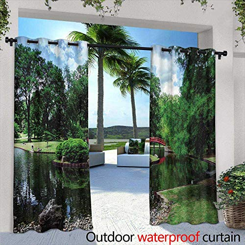 Lightly Outdoor- Free Standing Outdoor Privacy Curtain,Jack Russell Terrier Pattern,W72 x L84 for Front Porch Covered Patio Gazebo Dock Beach Home