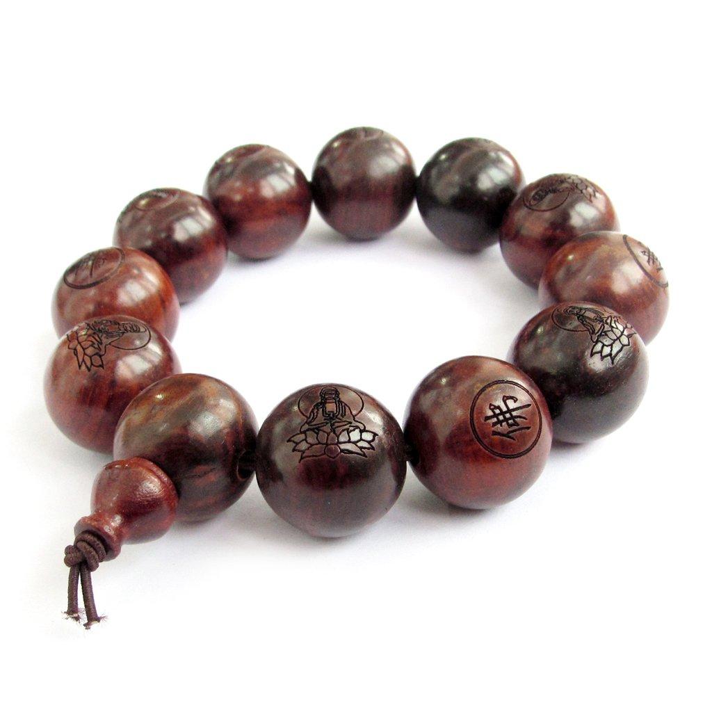20mm Big Wood Beads Buddhist Carved Kwan-yin Prayer Wrist Mala Bracelet Ovalbuy T2005