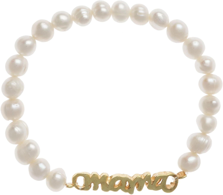 Córdoba Jewels | Pulsera de Perlas de Plata de Ley 925 bañado en Oro con diseño Mamá Perla de 33mm.Ajustable