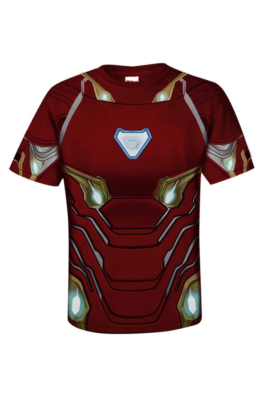 Hombre superhéroes Avengers: Endgame Iron Man Manga Corta Impreso T-Shirt Camiseta Disfraz Traje de Cosplay Ropa Rojo