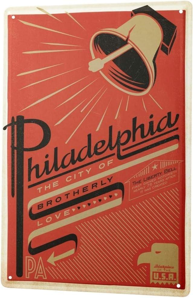LEotiE SINCE 2004 Tin Sign Metal Plate Decorative Sign Home Decor Plaques Deco City Philadelphia Liberty Bell 8X12