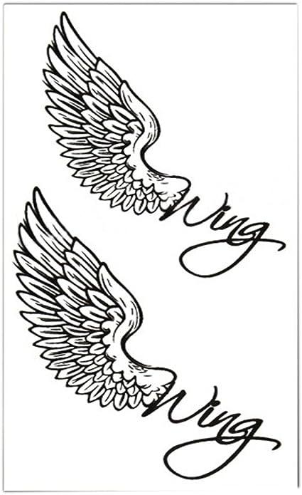 Set de 2 Classic Simple ángel alas Totem cuerpo tatuaje pegatinas ...