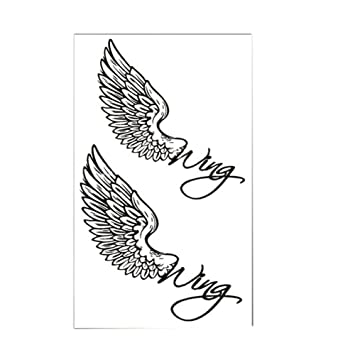 409b2d532 Amazon.com : Set of 2 Classic Simple Angel Wings Totem Body Tattoo Stickers  Temporary Tattoos : Beauty