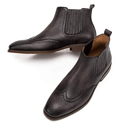 MERRYHE Brogues De Punta Cuadrada para Hombres Chelsea Boots Botines De Cuero Genuino De La Vendimia Botas De Desierto Ocasionales Zapatos De Trabajo ...