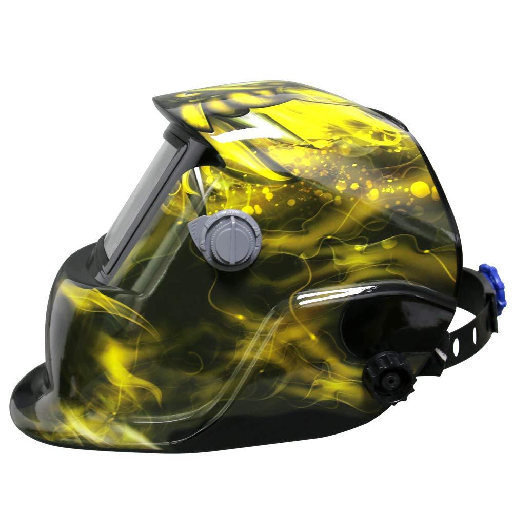 Leopard LEO-WH86 Funciona con Energía Solar + Oscurecimiento Automático + Función De Rectificado + 9-13 Sombra Máscara De Casco De Soldadura con 5 Lentes De ...