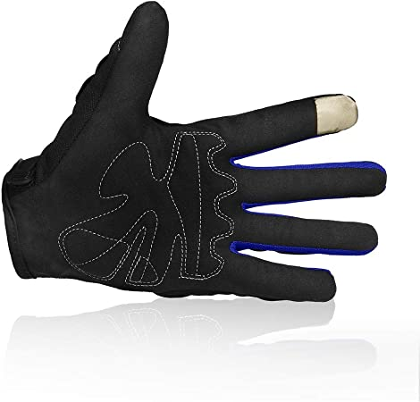 Motorcycle gloves Full finger durable for road racing bike summer spring Powersports support touch screen BLUE-XL