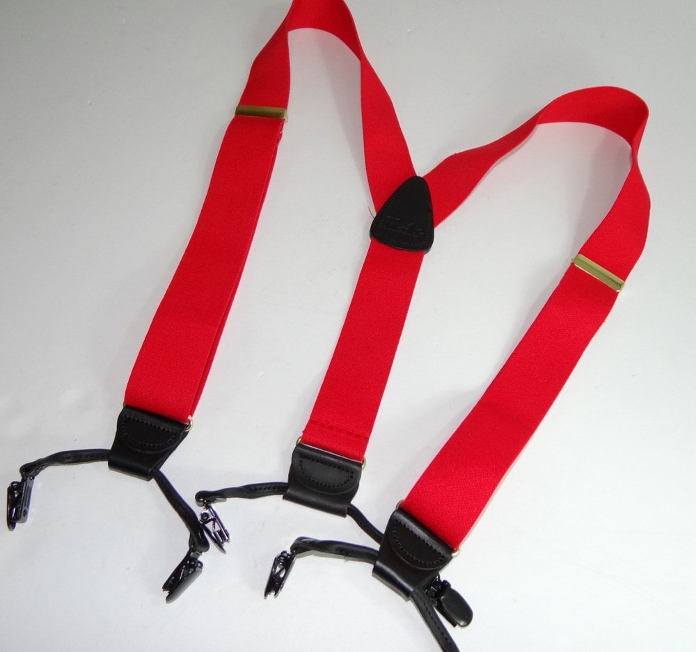 Hold-Ups Extra Long XL Fire Engine Red Dual Clip Double-ups Style Suspenders by Hold-Up Suspender Co. (Image #3)