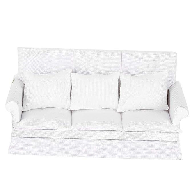 Details about  /1//12 Dollhouse Miniature Sofa Chair Accessory Beige Floral Pillows 2pcs Set
