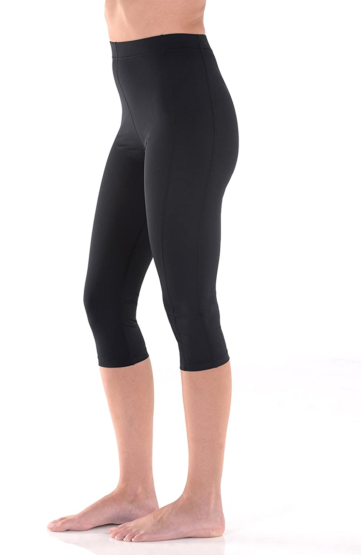 Women Swim Capri 3//4 Tights High Waist Sun Guard UV Protection UPF50 Black