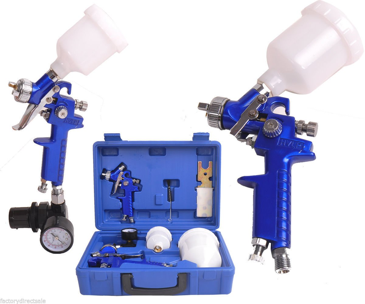 Goplus Basic HVLP Spray Gun Kit 2-Spray Guns Kit Gravity Feed Spray Guns