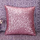 iHMDD Square Pillowcase,Solid Color Glitter Sequins Throw Pillow Case Cafe Home Decor Cushion Covers Pillowslip For Home Sofa Couch Chair Back Seat (Pink)