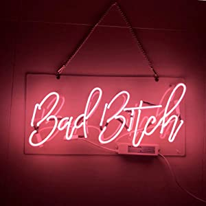LiQi ' Bad Bitch ' Real Glass Handmade Neon Wall Signs for Home Decor Wall Light Room Decor Home Bedroom Girls Pub Hotel Beach Cocktail Recreational Game Room (19