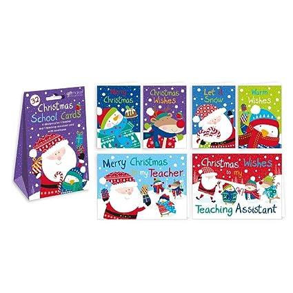 Paquete de 32 tarjetas de Navidad, infantiles, con purpurina, para amigos de clase y maestros