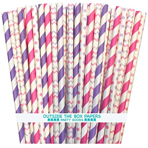 Outside the Box Papers Pink and Lilac Stripe, Polka Dot and Chevron Paper Straws 7.75 Inches 100 Pack Lilac, Pink, White (Lavender Paper Straws)