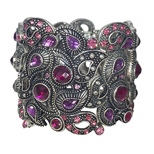 Unique Paisley Pink & Purple Fancy Rhinestone Silver Tone Wide Stretch Bracelet