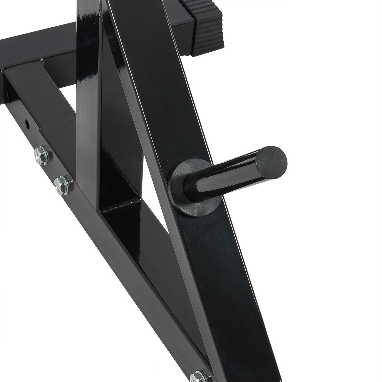Akonza Pair of Adjustable Standard Solid Steel Power Squat Stands Barbell Free Press Bench -Black by Akonza (Image #4)