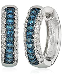 Sterling Silver Blue and White Diamond Hoop Earrings (1/4 cttw, I-J Color, I2-I3 Clarity)