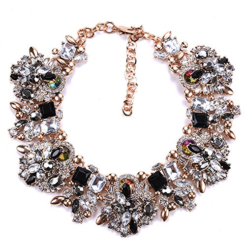 - Zthread Bib Statement Necklace Colorful Glass Crystal Collar Choker Necklace for Women Fashion Accessories (Black+White)