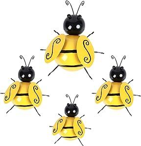 OptiCase 4 Pack Metal Bumble Bee Yard Art Sculpture Decorations - 3D Metal Honey Bee Summer Garden Accents - Spring Hanging Bee Wall Lawn Art Decor - World Bee Day Indoor Outdoor Figurine Ornaments
