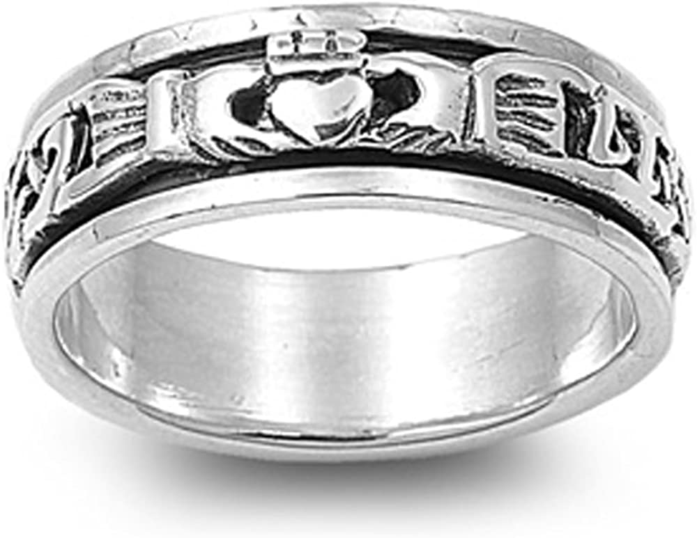 Sterling Silver Oxidize Finish Celtic Claddagh Spinner Ring (Size 4 to 10)