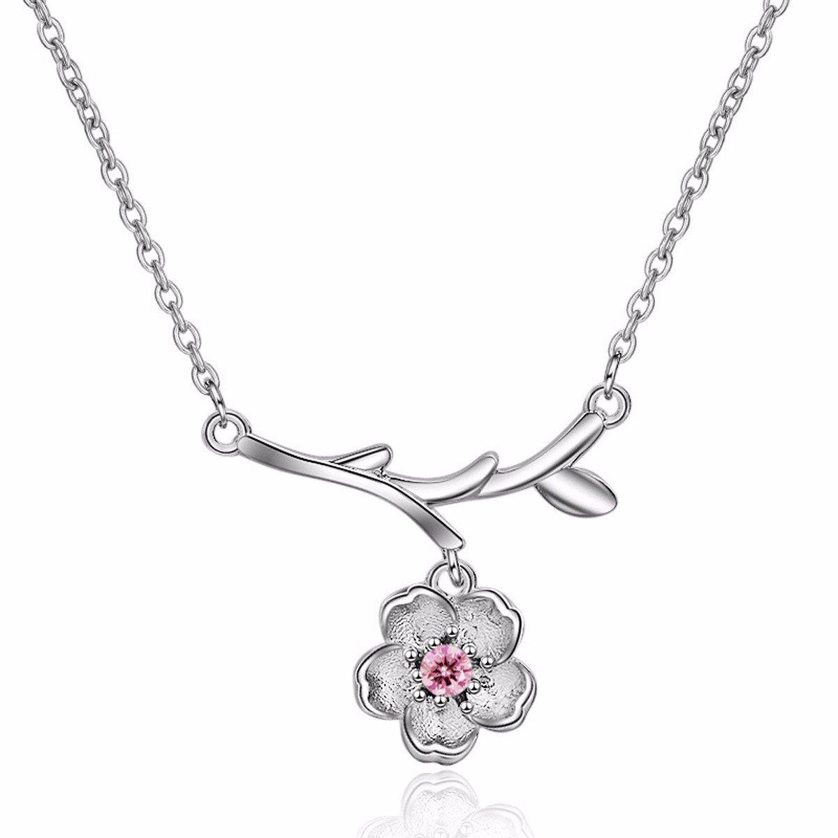 Fledou Collar de Flor de Cerezo, salvaje, dulce cadena de clavícula, flores, contenedor, insertar la broca necklace, hembra, un embellecedor,Collar para ...