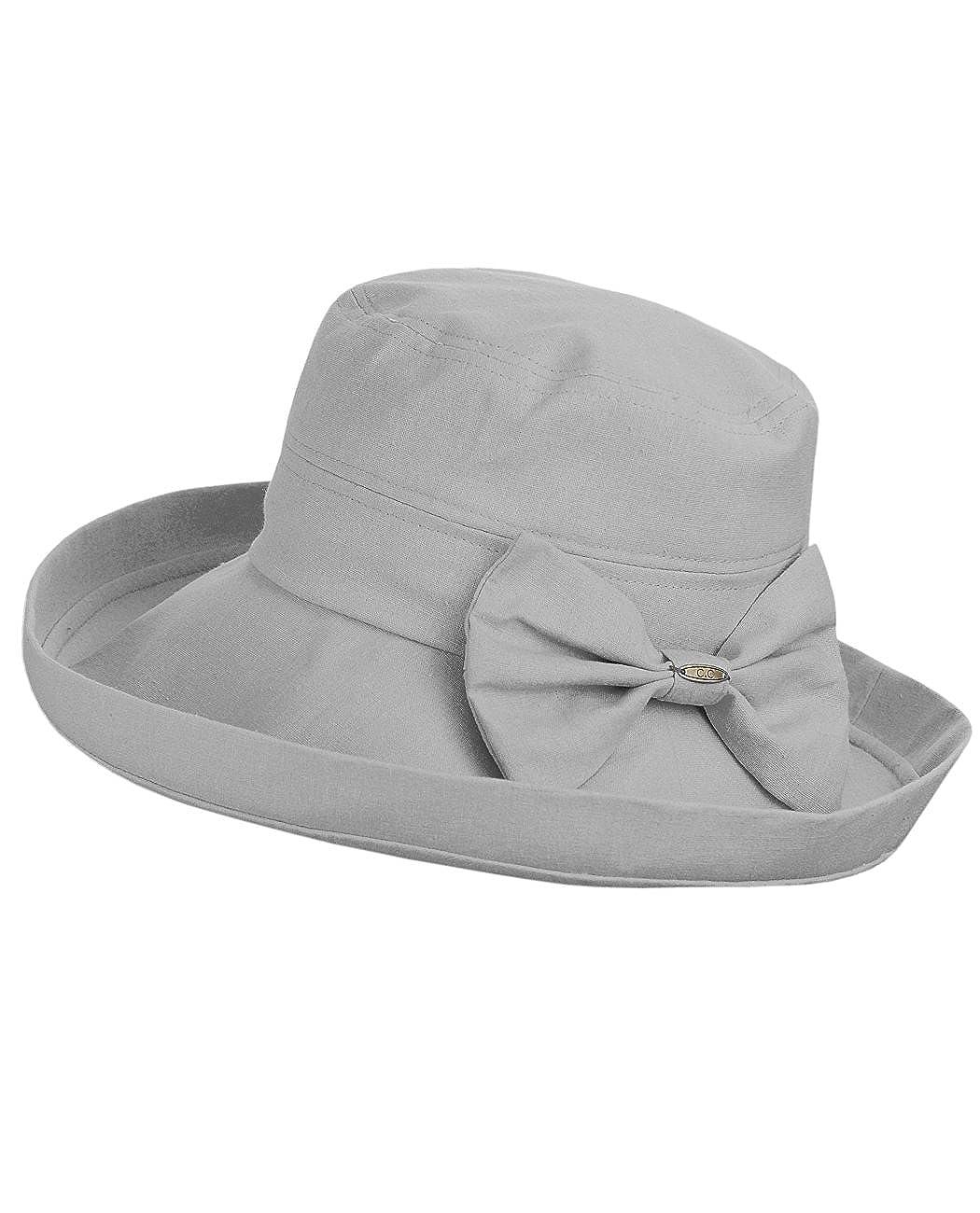 NYFASHION101 Women's Summer Packable Bow Accent Foldable Brim Beach Sun Hat DA2-BG