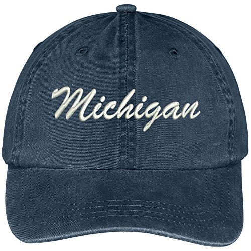 Michigan State Embroidered Low Profile Adjustable Cotton Cap - Navy ()