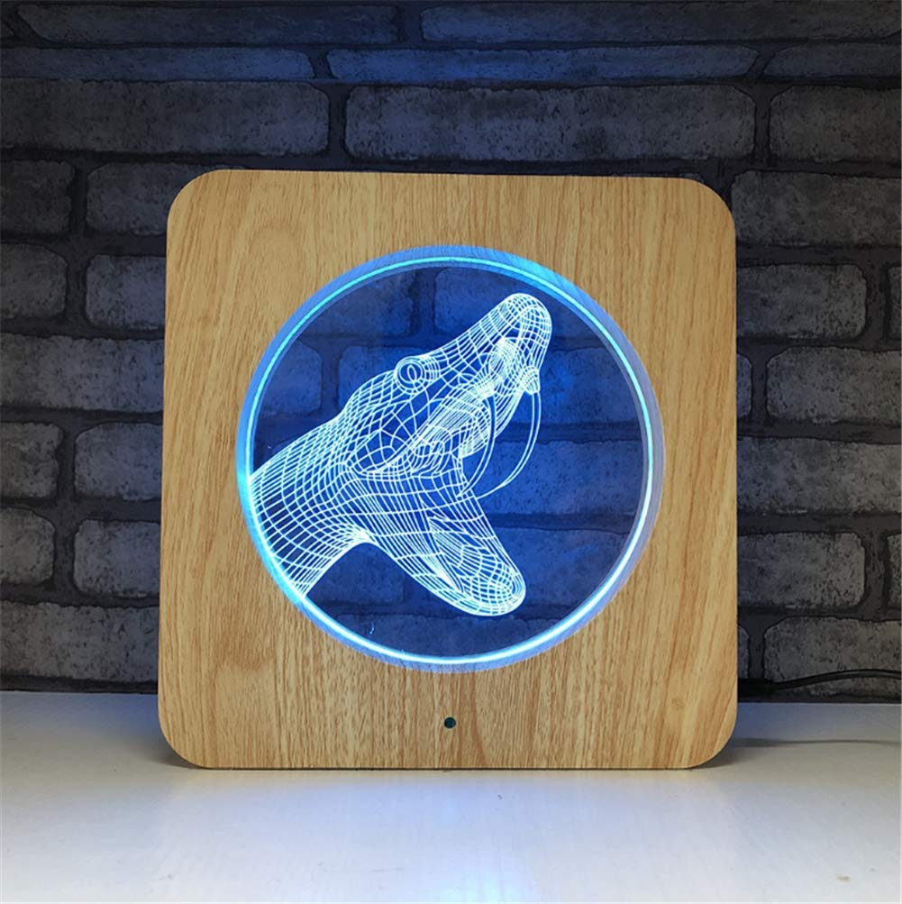3D Lamp 7 Colour Optical Illusion Acrylic Wooden Square Frame LED Night Light with Timer Off Remote Control and Touch Switch Desk Table Lighting USB Cable and Battery Powered (Snake)